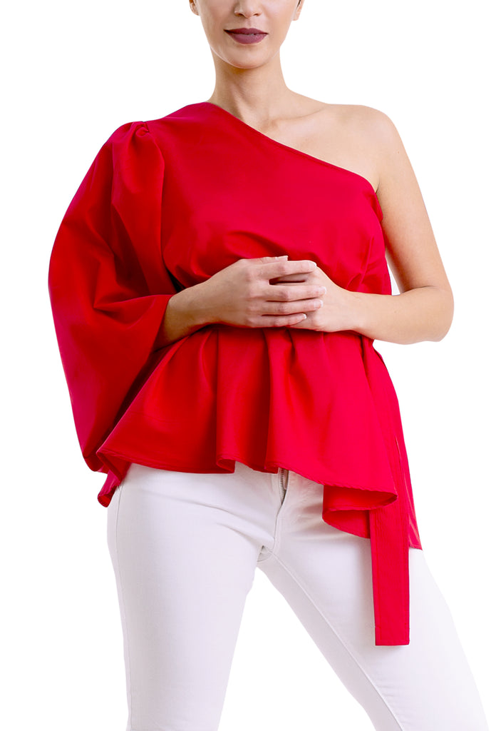 Puff Blouse -One Shoulder- Red