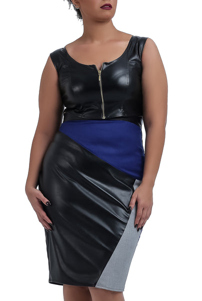 Round Neck Leather Party Crop Top
