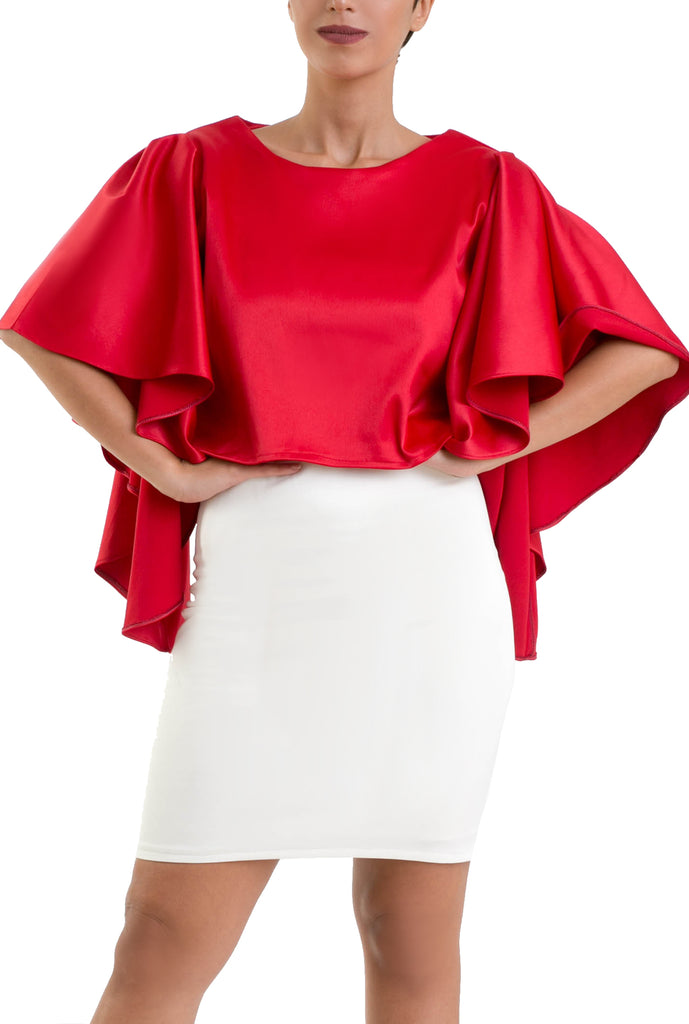 Royal Butterfly Sleeves Blouse - Red