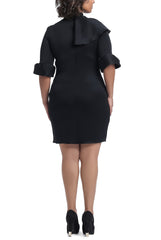 Ruffles Neck Cocktail Dress - Black