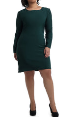 Ruffles Neck Cocktail Dress - Green