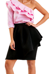 Ruffled Statement Skirt-Black