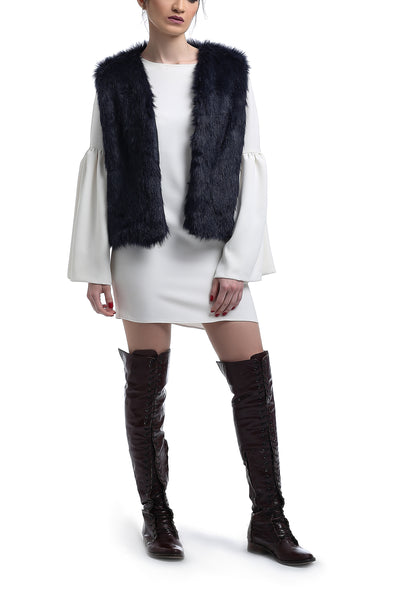 Short Fur Vest - Navy Blue