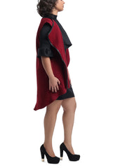 Sleeveless Wool Draped Vest - Maroon