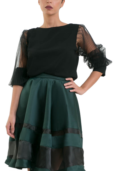 Accordion Sleeves Blouse - Black
