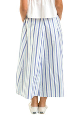 Stripes Cotton Skirt With Bow
