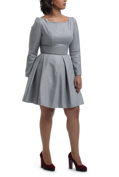 Wool Dress -Knee Length- Grey