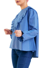 Front V Ruffles -Long Sleevess- Blue
