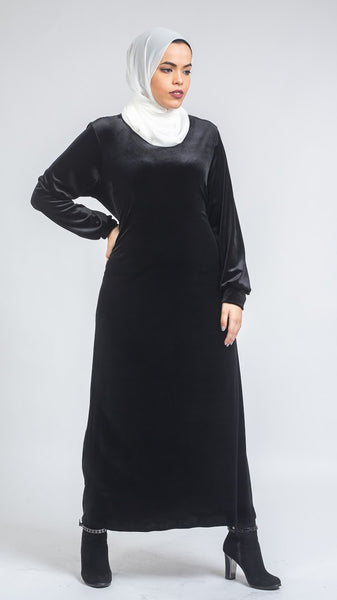 Velvet Black With Side Belt Dress