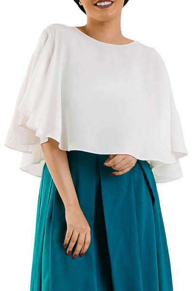 Front Ruffle Blouse  - White