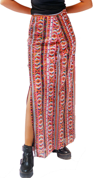Aztec Patterned Sequin Skirt
