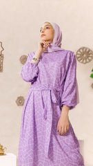 Lilac Dress With Side Belt -Violet