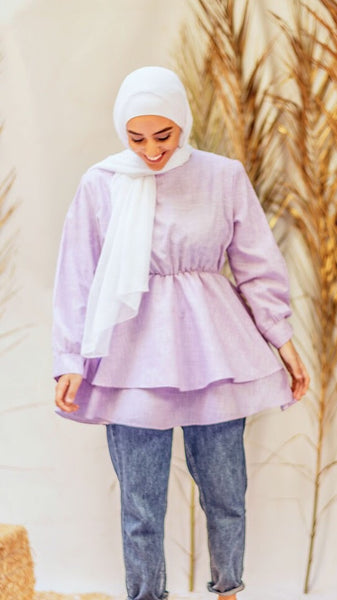 Double Layered Ruffle Blouse - Purple