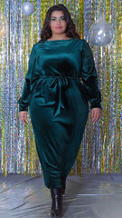 Velvet Green Emerald With Side Belt Dress