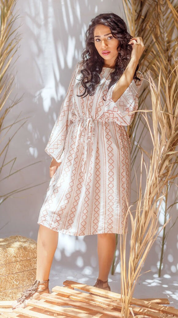 The White Boho Elastic Dress