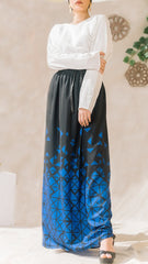 Geometric High Waist Skirt  -Blue