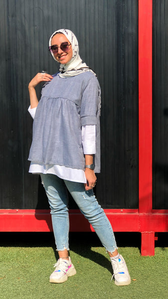 Leila Blouse - Light blue