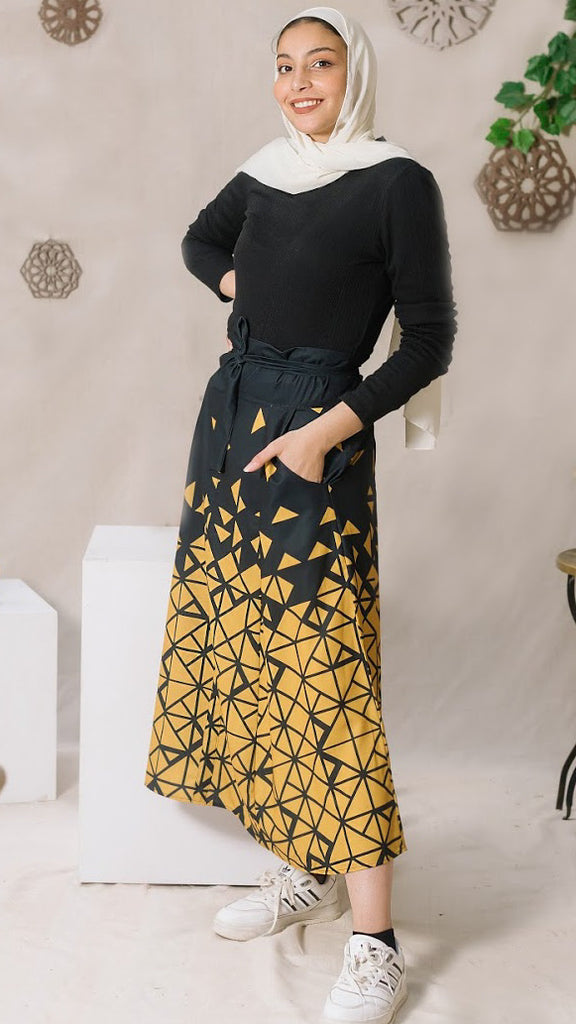 Geometric Skirt With Bow -Mustard