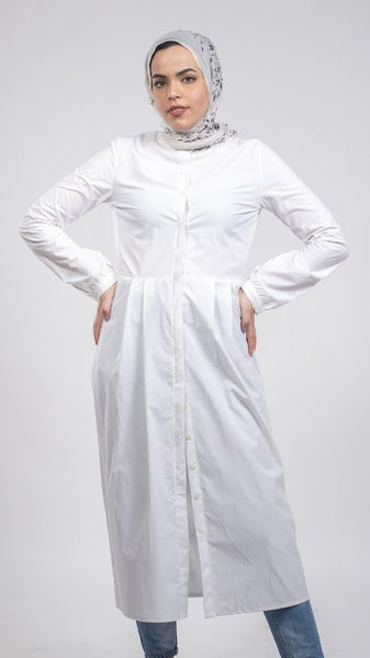 Cotton  Chemise Dress - White