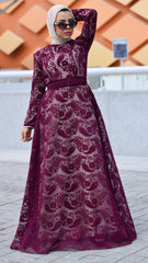 Embroidered Tulle Dress -Maroon