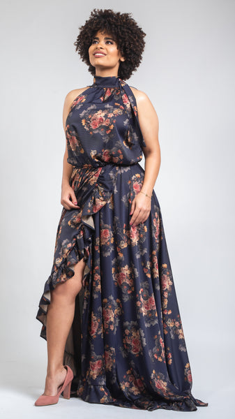 Latina Split Silk Dress - Navy Blue