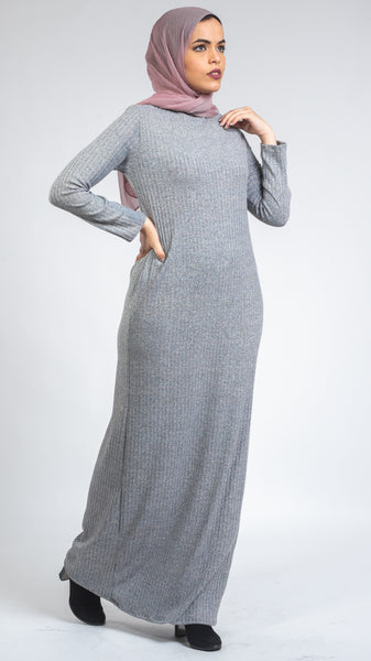 Turtle Neck Wool Dress- Grey
