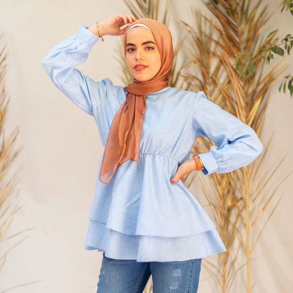 Double Layered Ruffle Blouse- Baby Blue