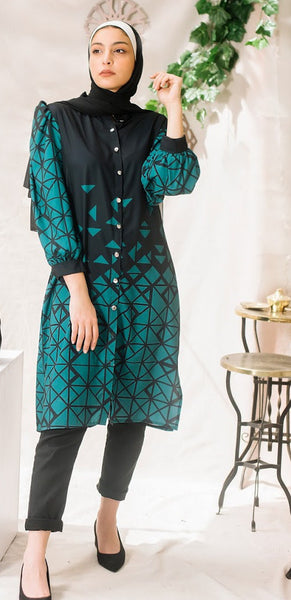 Geometric Chemise -Emerald Green