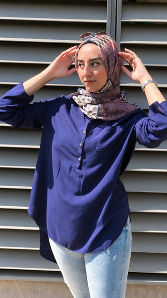 Half Collar Blouse - Navy Blue