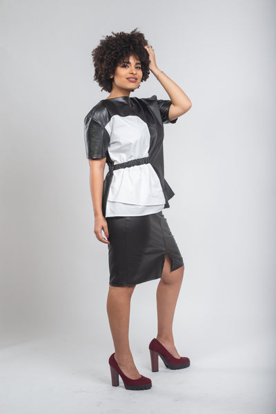Pencil Leather Skirt - Black