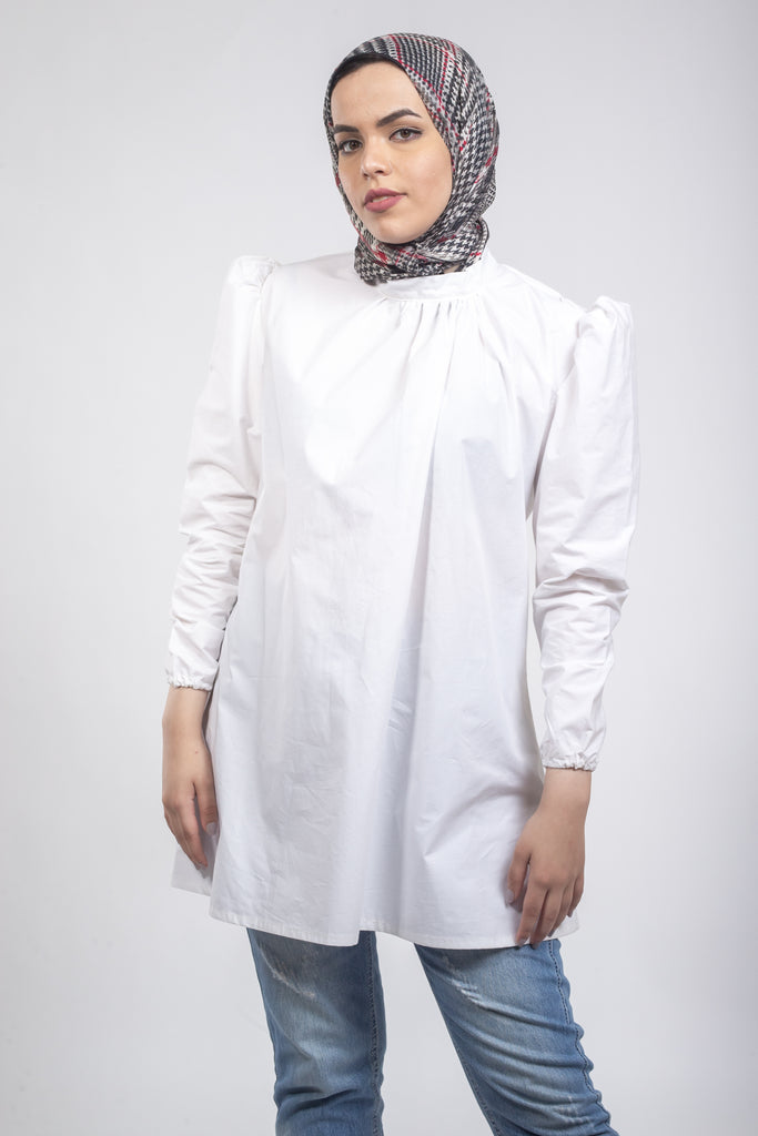 Holly Puff Blouse -Long Sleeves- White