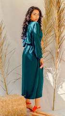 Green Emerald Elastic Waist Dress