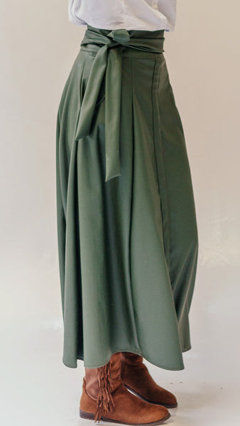 Leather Skirt with Bow -Army Green