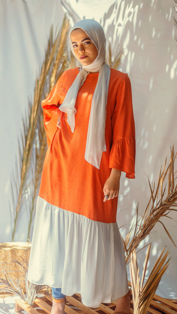 Orange And White Linen Dress