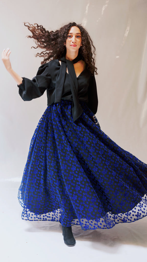 Polka Dot Tulle Skirt - Blue