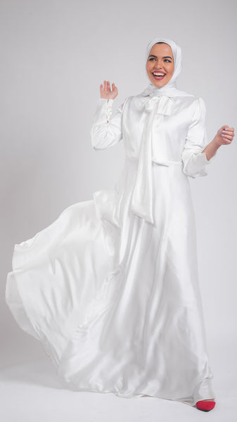 Naomi Chiffon Satin Dress- White