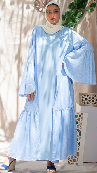 The Ruffled Open Abaya Kimono - Baby Blue