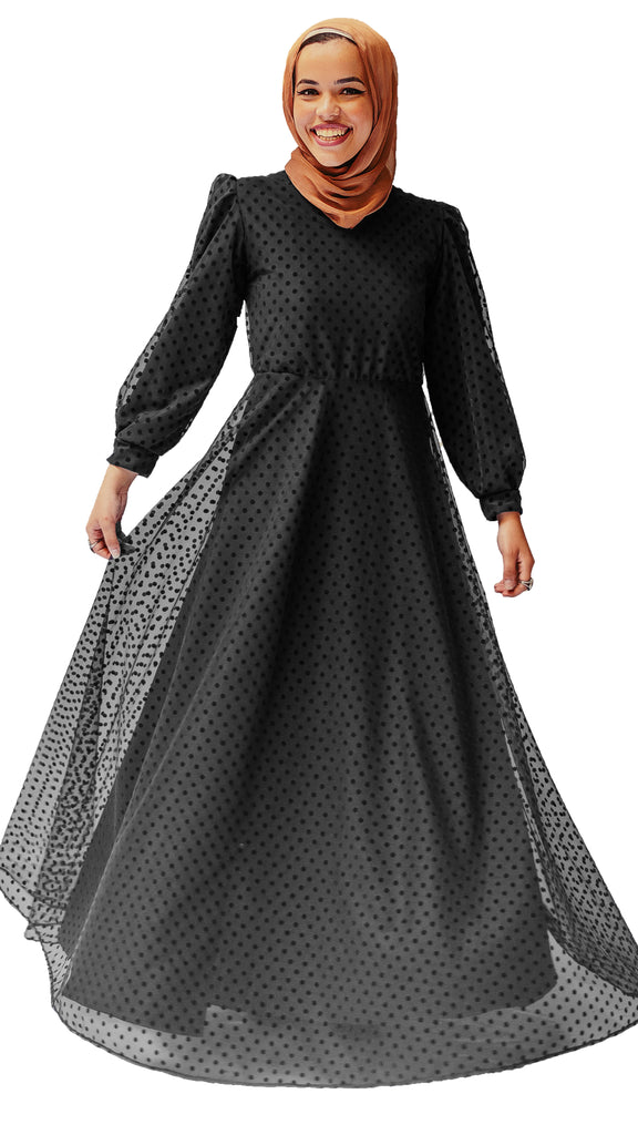 Polka Dot Tulle Dress - Black