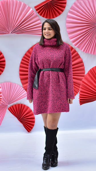 Wool Pullover Dress-Fuchsia