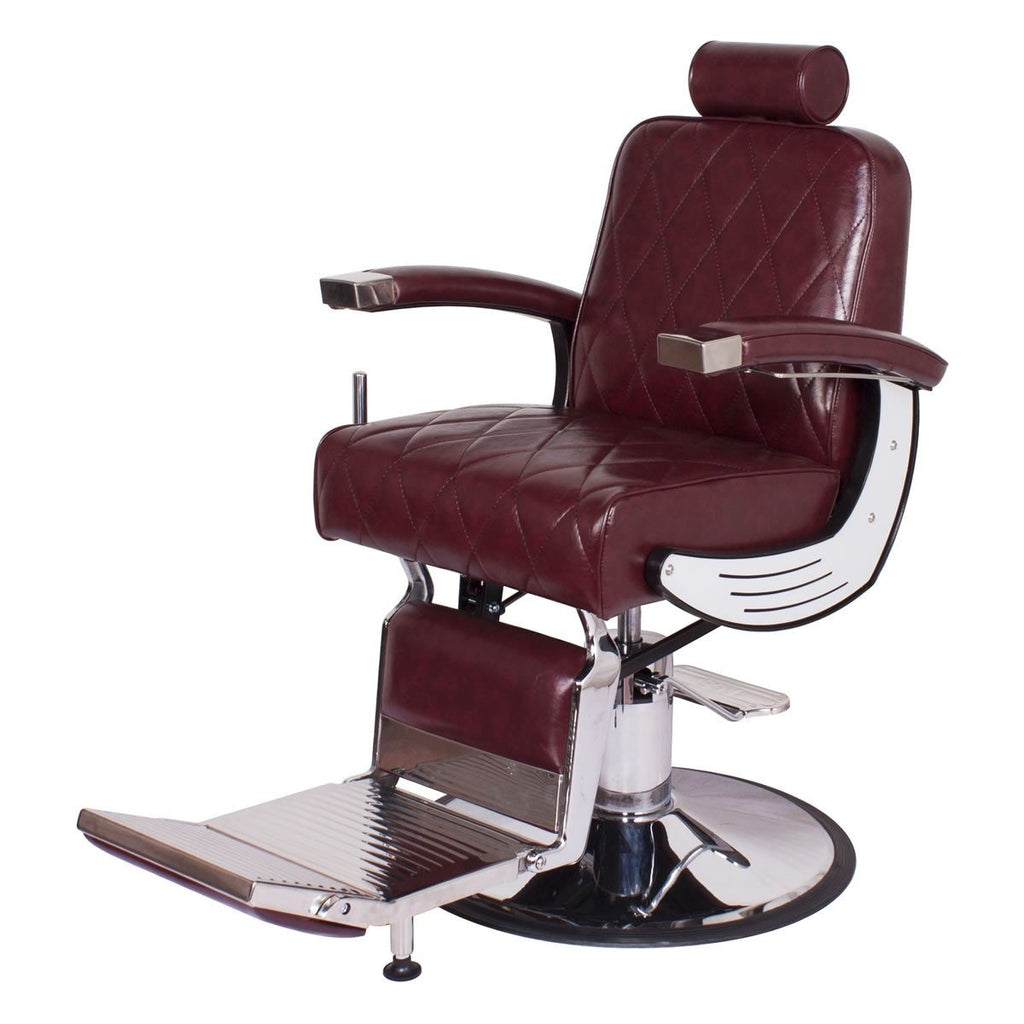 Baron Barber Chair Champagne Red AGS Beauty - Barber Chairs