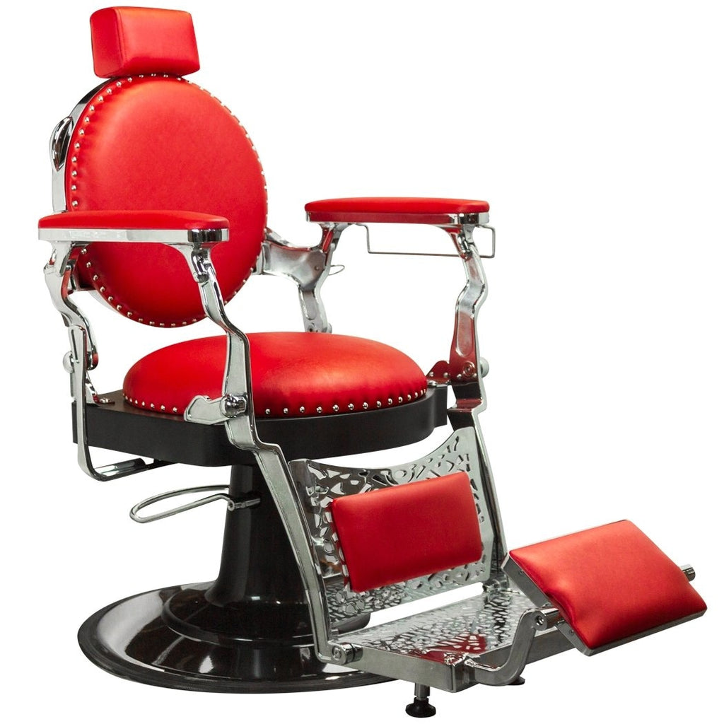 Churchill Barber Chair Red/Chrome Deco Salon - Barber Chairs