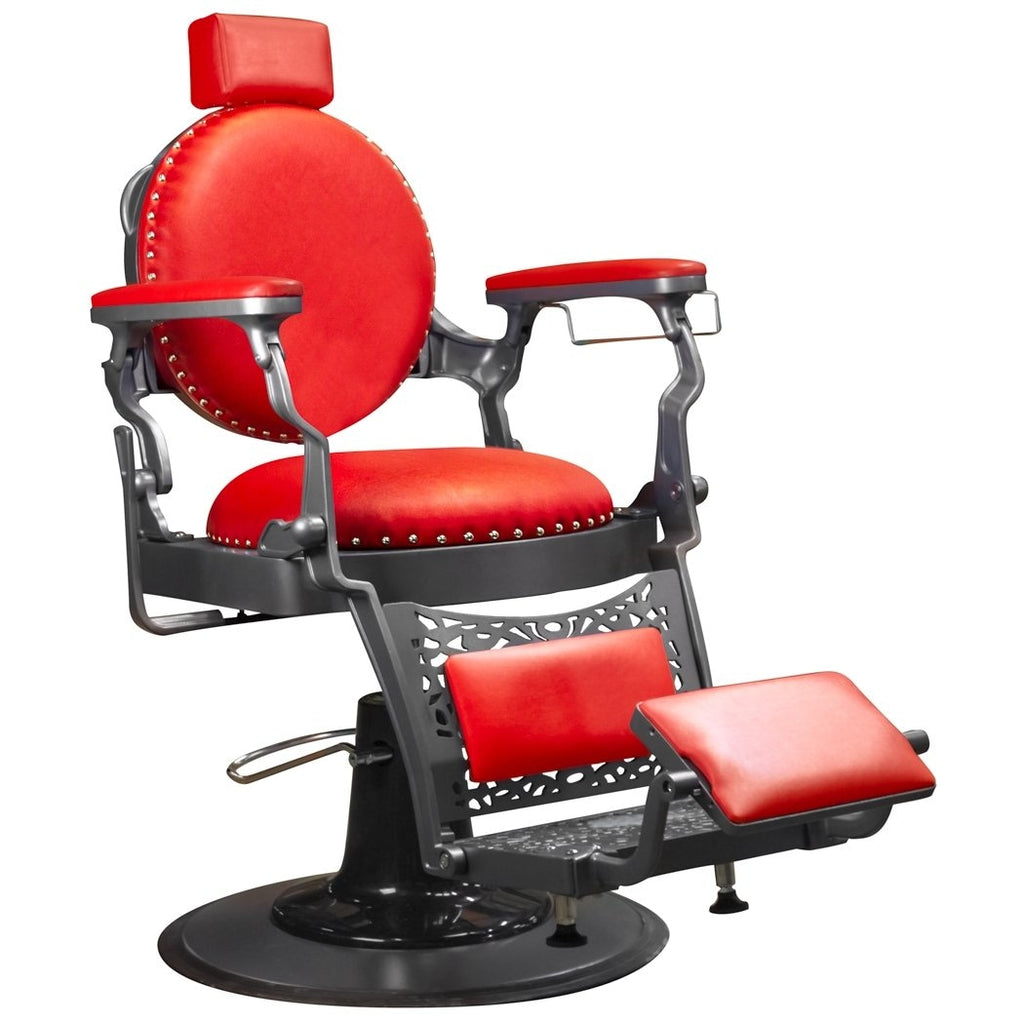 Churchill Barber Chair Red/Grey Deco Salon - Barber Chairs