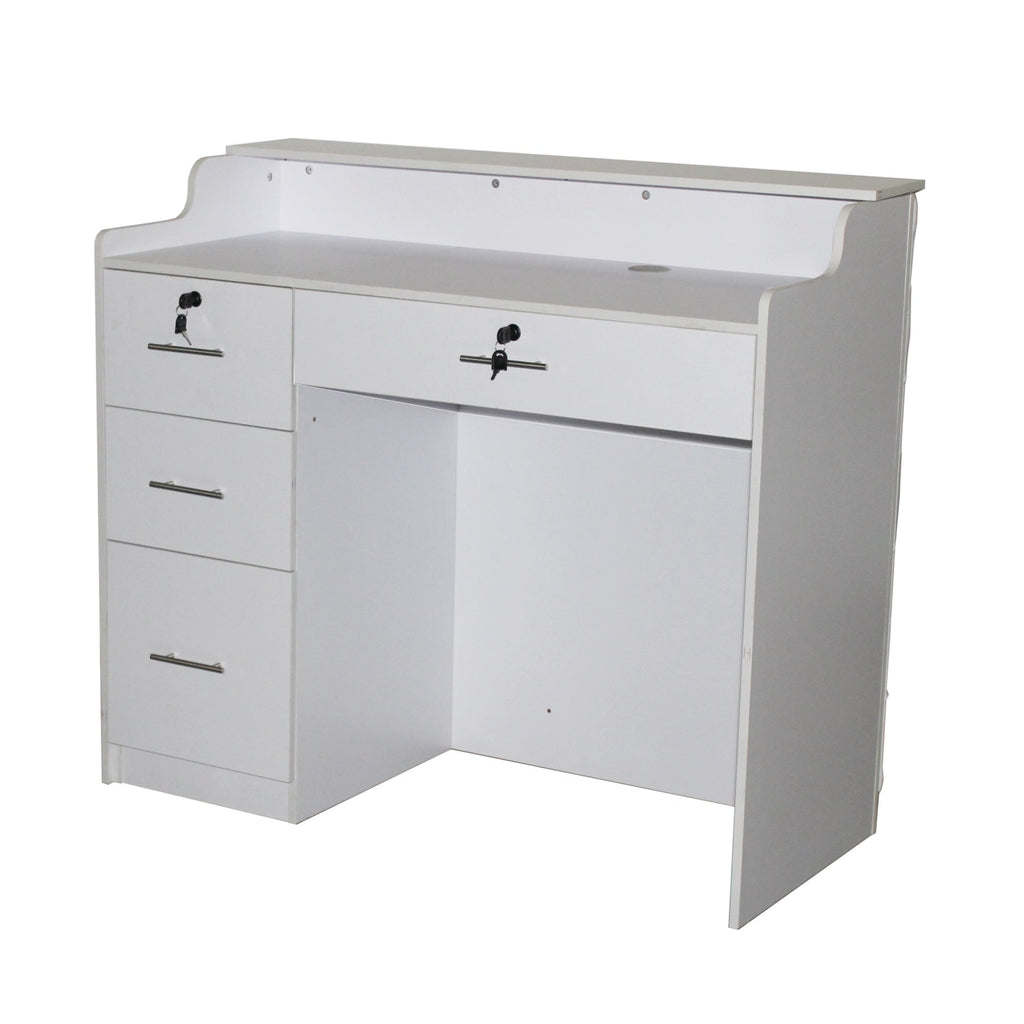 Crystalli Velvet Reception Desk 48 White/Cream Deco Salon - Reception Desks