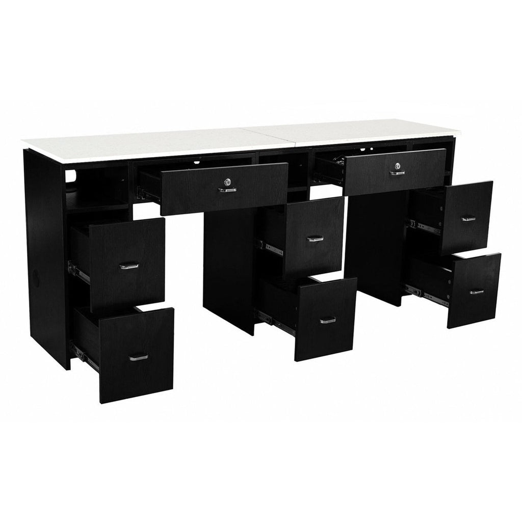 Double Manicure Table Black Whale Spa - Manicure Tables