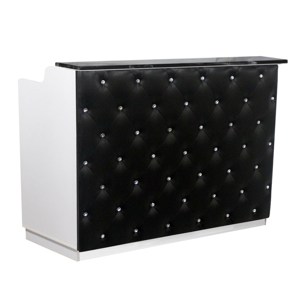 Elizabeth Crystal Reception Desk 60 White/Black Deco Salon - Reception Desks