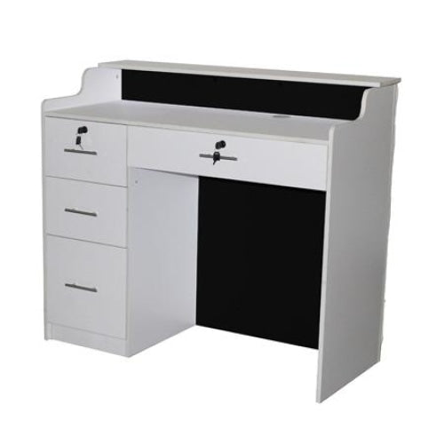 Elizabeth Reception Desk 48 White/Black with Crystal Buttons Deco Salon - Reception Desks
