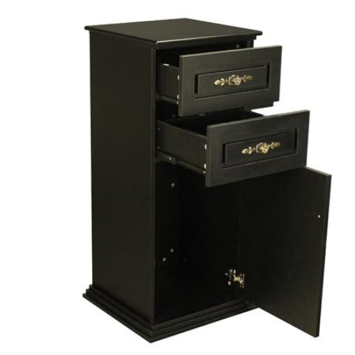 Lancaster Side Cabinet Black with Granite Top Deco Salon - Cabinets