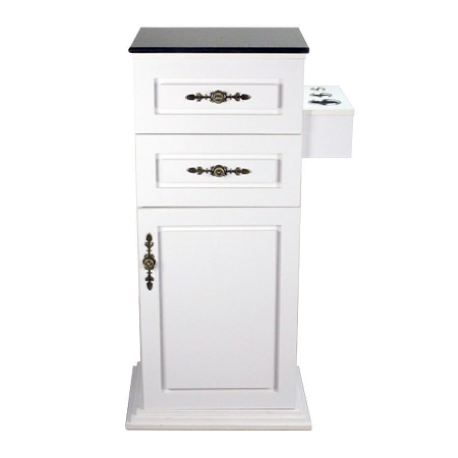 Lancaster Side Cabinet White with Granite Top White Deco Salon - Cabinets