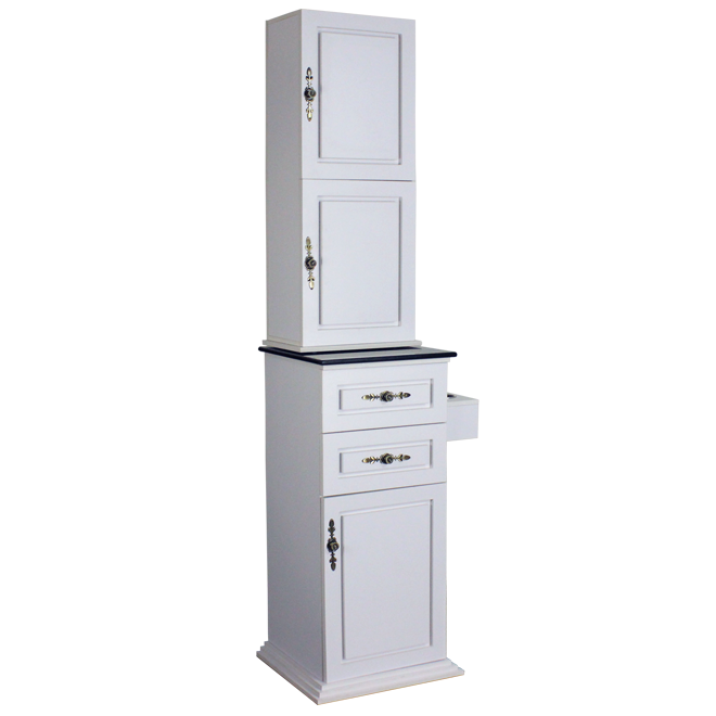 Lancaster Tower with Granite White Deco Salon - Cabinets