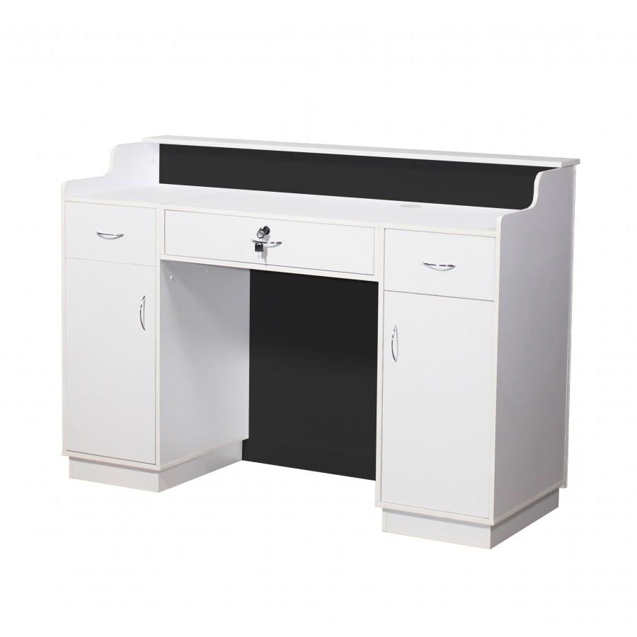 Le Beau Reception Desk 60 White/Silver Deco Salon - Reception Desks